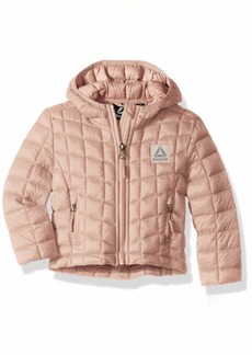 Reebok Girls' Big Active Packable Hooded Jacket with Glacier Shield  10/12