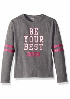Reebok Girls' Big Sporty Long Sleeve Glitter Striped T-Shirt  8/10