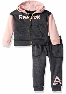 Reebok Girls' Little 2 Piece Spun Poly Fleece Color Block Hoodie and Jog Pant