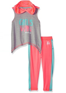 Reebok Girls' Little Tank and Pant Set Papaya Punch-CKJXP