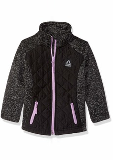 Reebok Girls' Toddler Active Sweater Fleece Jacket with Quilting