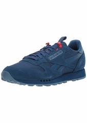 Reebok Men's Classic Leather Sneaker Bunker Blue Slate/Primal red  M US