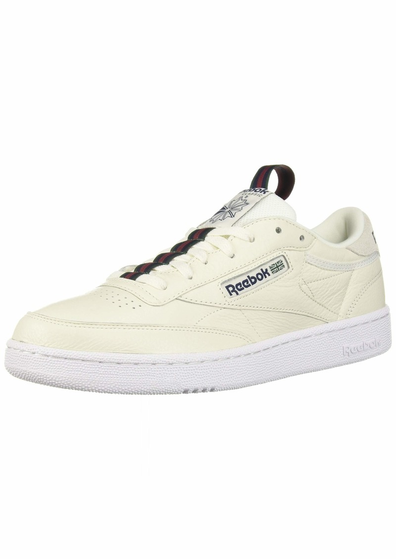 Reebok Men's Club C 85 Sneaker Chalk/Collegiate Navy/Dark Green/red/White  M US