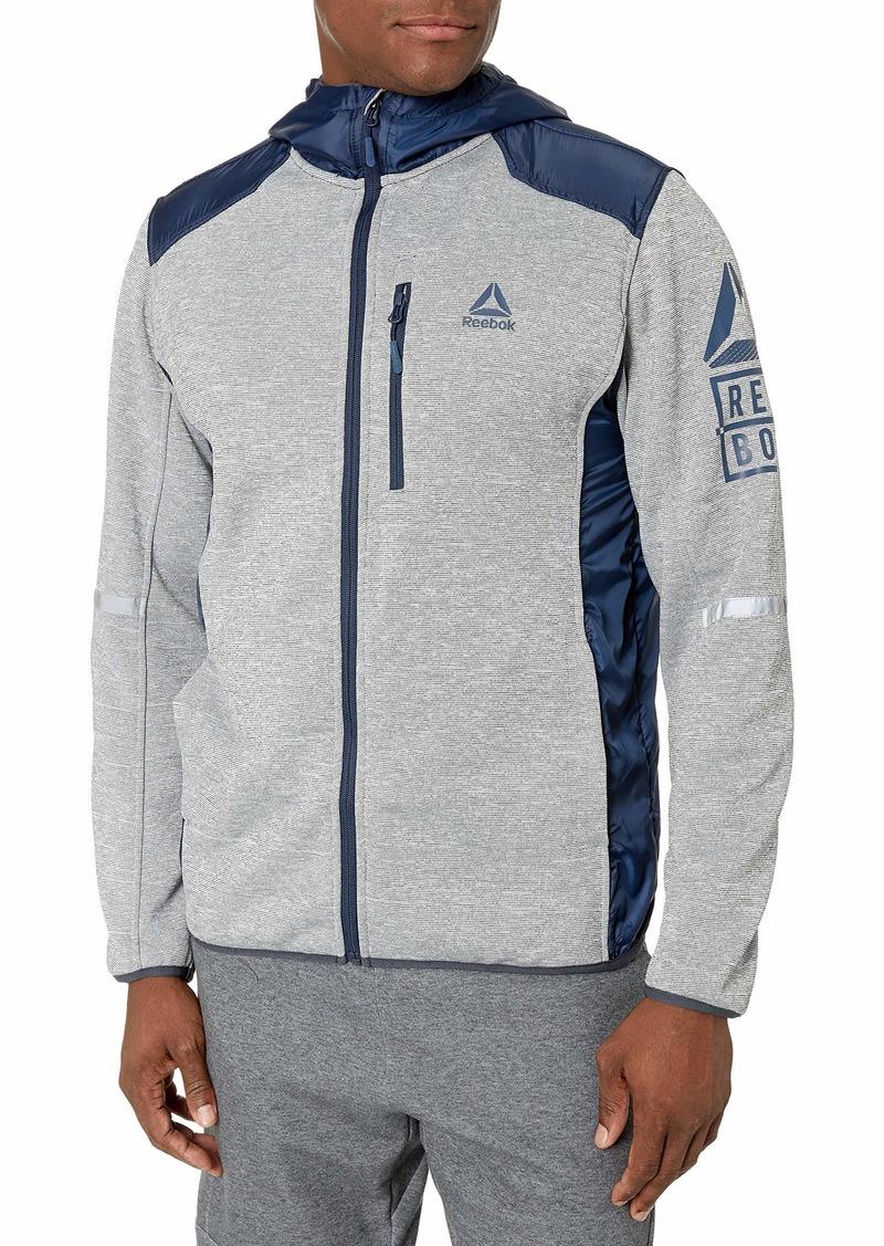 Reebok Men's Outerwear Jacket Swacket with Nylon Overlay Grey Heather/Navy