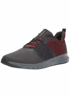 Reebok Men's Print LITE Rush Sneaker Coal/Alloy/Primal red/White  M US