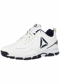 Reebok Men's Ridgerider Leather 4E Sneaker White/coll. Navy - Wide e 8 US