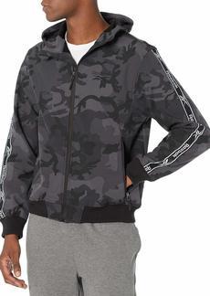 Reebok Men's Soft Woven Jacket w. Knit Rib Black CAMO PRT XL