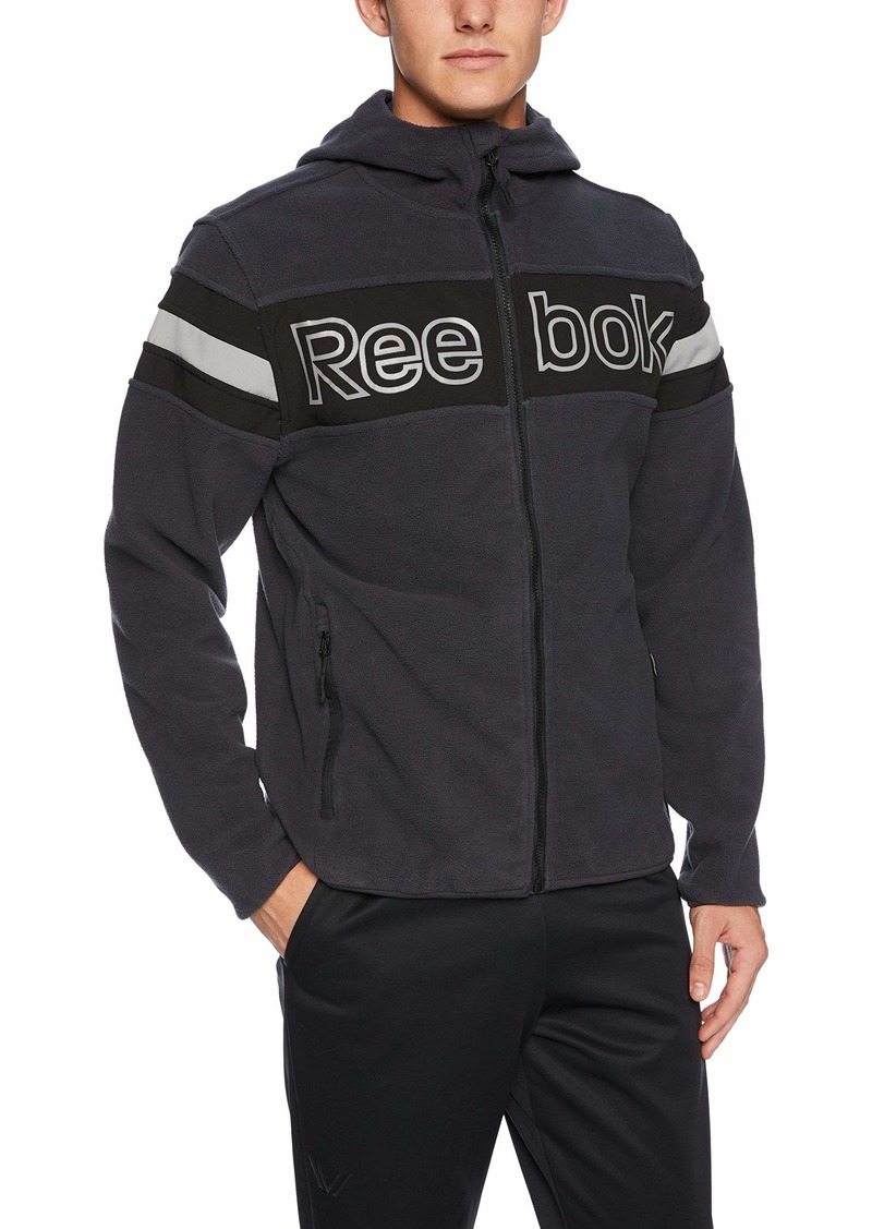 Reebok Men's Standard Polar Fleece Active Jacket with Softshell Charcoal L