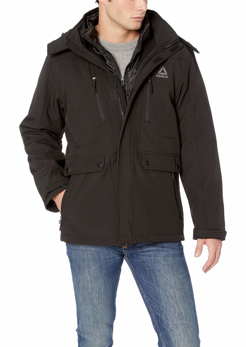 Reebok Men's Standard Softshell Active Jacket Systems with Chest Zippers Black XL