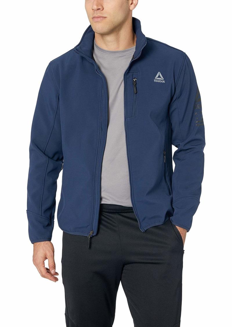 Reebok Men's Standard Softshell Active Jacket Vestee with Striped Hem Navy XL