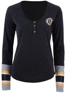 Reebok Women's Boston Bruins Stripe Henley Long Sleeve T-Shirt