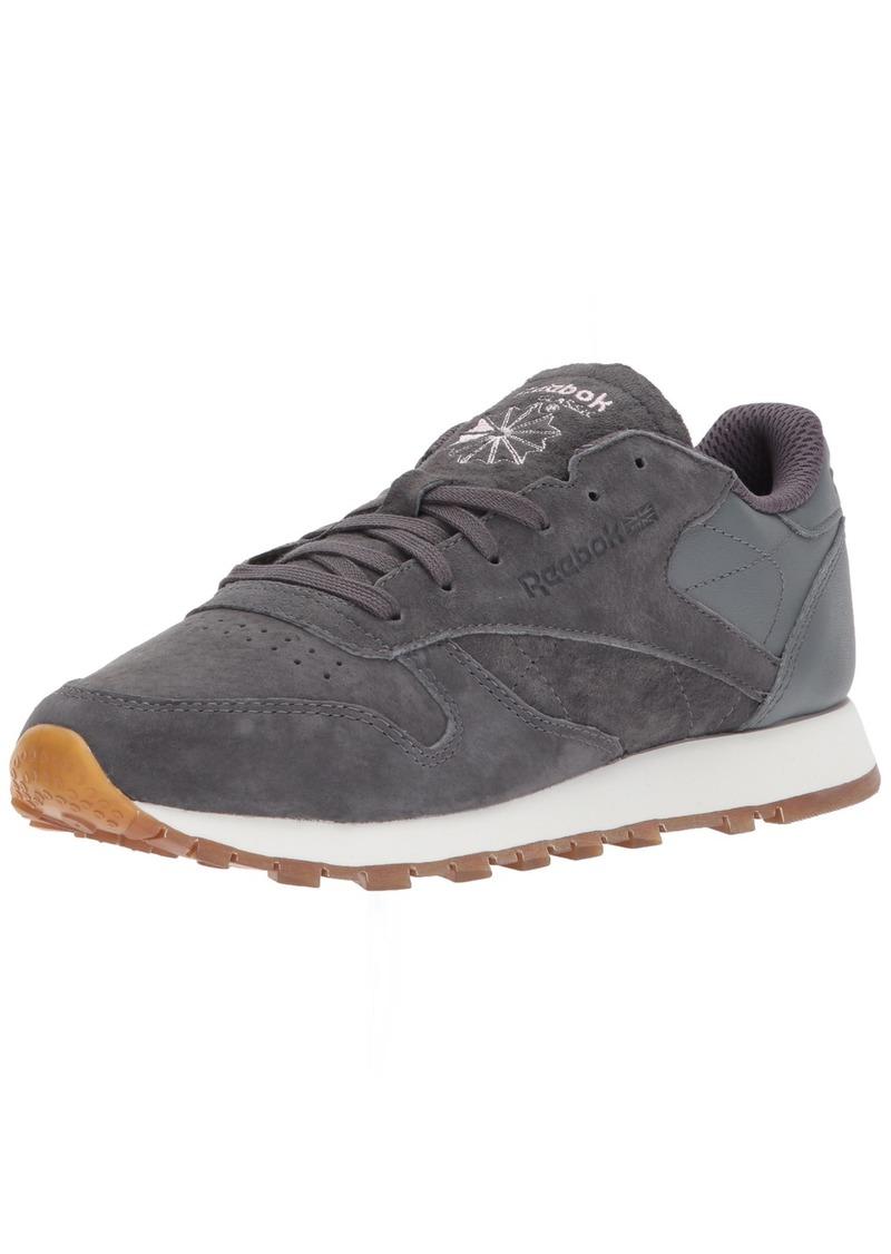 Reebok Women's CL LTHR EB Sneaker ash Grey/Alloy/Charming Patent  M US