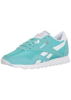 Reebok Women's CL Nylon Brights Sneaker Turquoise/White/Stark gre