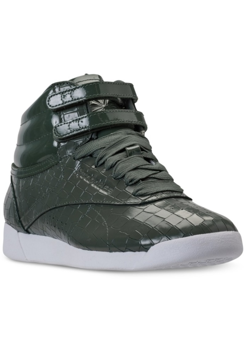 Reebok Women s Freestyle High Top Crackle Casual Sneakers from Finish Line 004c5f3a4