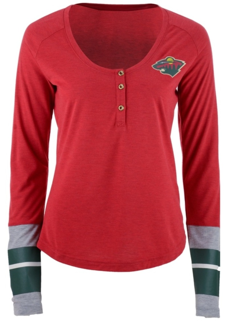 Reebok Reebok Women s Minnesota Wild Stripe Henley Long Sleeve T-Shirt 805dc394b5