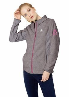 Reebok Women's Polar Fleece Active Jacket Hooded Space dye Grey XL