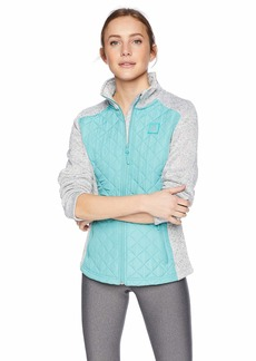 Reebok Women's Quilted Sweater Fleece Jacket Diamond deep Mint L
