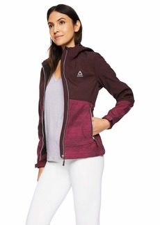 Reebok Women's Softshell Active Jacket Hooded with Details Wine Print XL