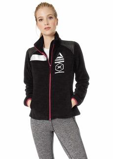 Reebok Women's Standard Polar Fleece Active Jacket Reflective Detail Space dye Black L