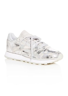 Reebok Women's Textured Leather Lace Up Sneakers