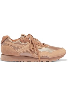 Reebok X Victoria Beckham Woman Rapide Leather-trimmed Shell And Suede Sneakers Sand