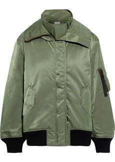 Reebok X Victoria Beckham Woman Satin-shell Hooded Bomber Jacket Army Green