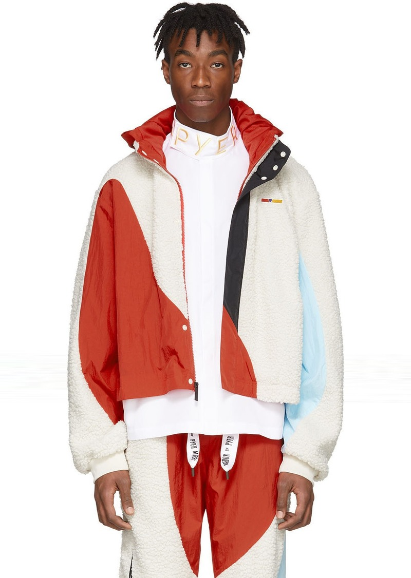 Reebok White & Red Collection 3 Nylon Windbreaker Jacket