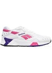Reebok white Aztrek faux leather low top sneakers