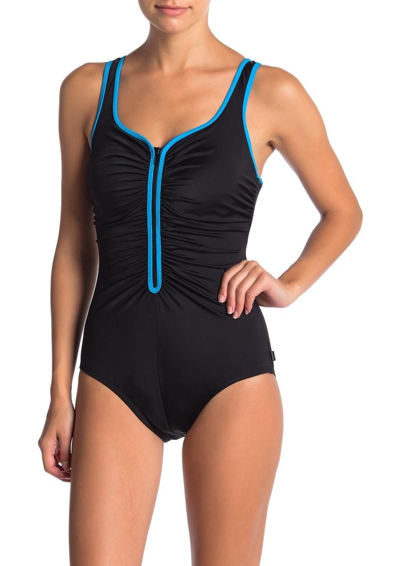 Reebok Zig Zag Front Zip One-Piece Swimsuit