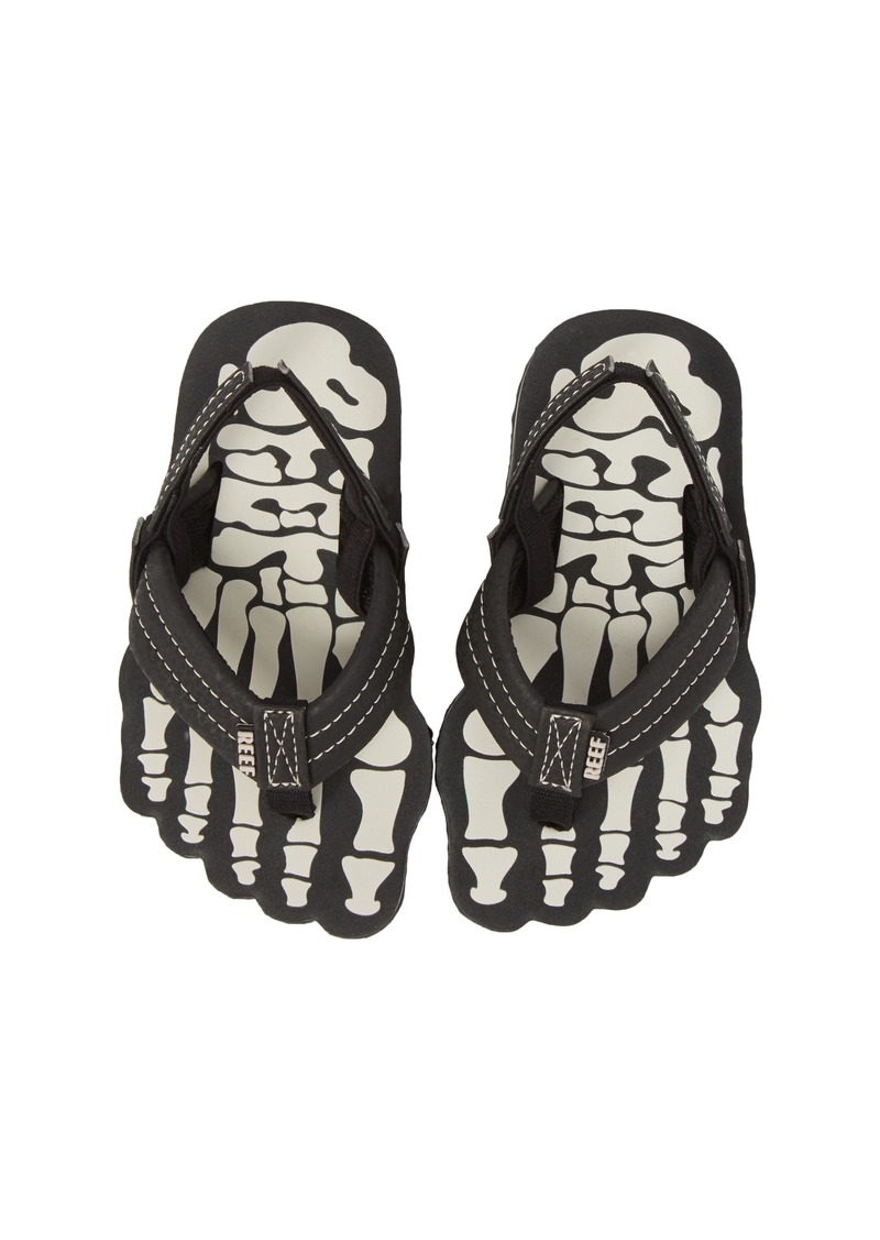 b0218a4aa0cc Reef Reef Glow in the Dark Grom Skeleton Flip Flop (Baby