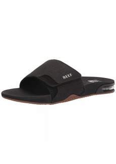 Reef Men's Fanning Slide Sandal BLACK/SILVER