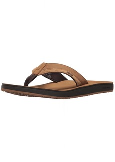 Reef Men's Leather Contoured Cushion Sandal tan  M US