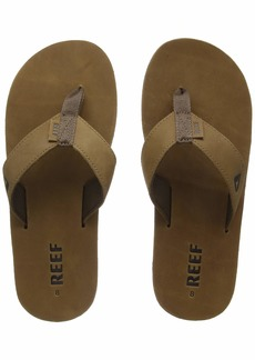 REEF Men's Sandals Leather Smoothy | Classic Leather Beach Flip Flop with Woven Strap and Arch Support  13