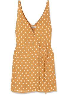 Reformation Anchorace Polka-dot Georgette Mini Wrap Dress