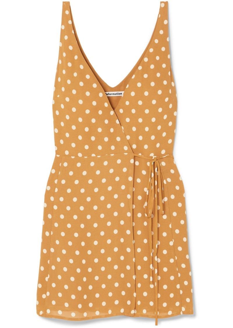 Reformation Anchorace Polka-dot Georgette Mini Wrap Dress
