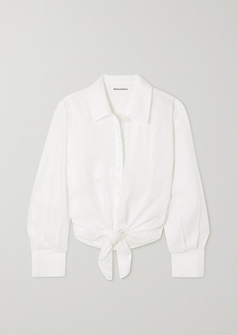 Anzio Tie-front Linen Shirt