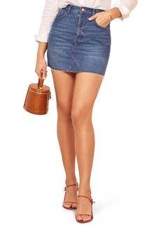 Reformation Cherry Denim Miniskirt