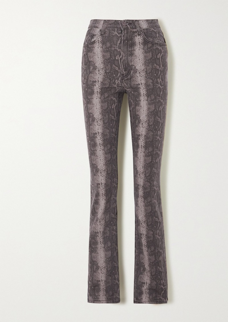 Reformation Net Sustain Cindy Snake-print High-rise Bootcut Jeans