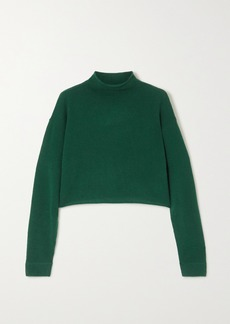 Reformation Net Sustain Cropped Cashmere And Wool-blend Sweater