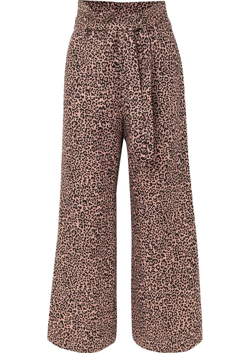 Reformation Jackie Cropped Belted Leopard-print Linen Wide-leg Pants