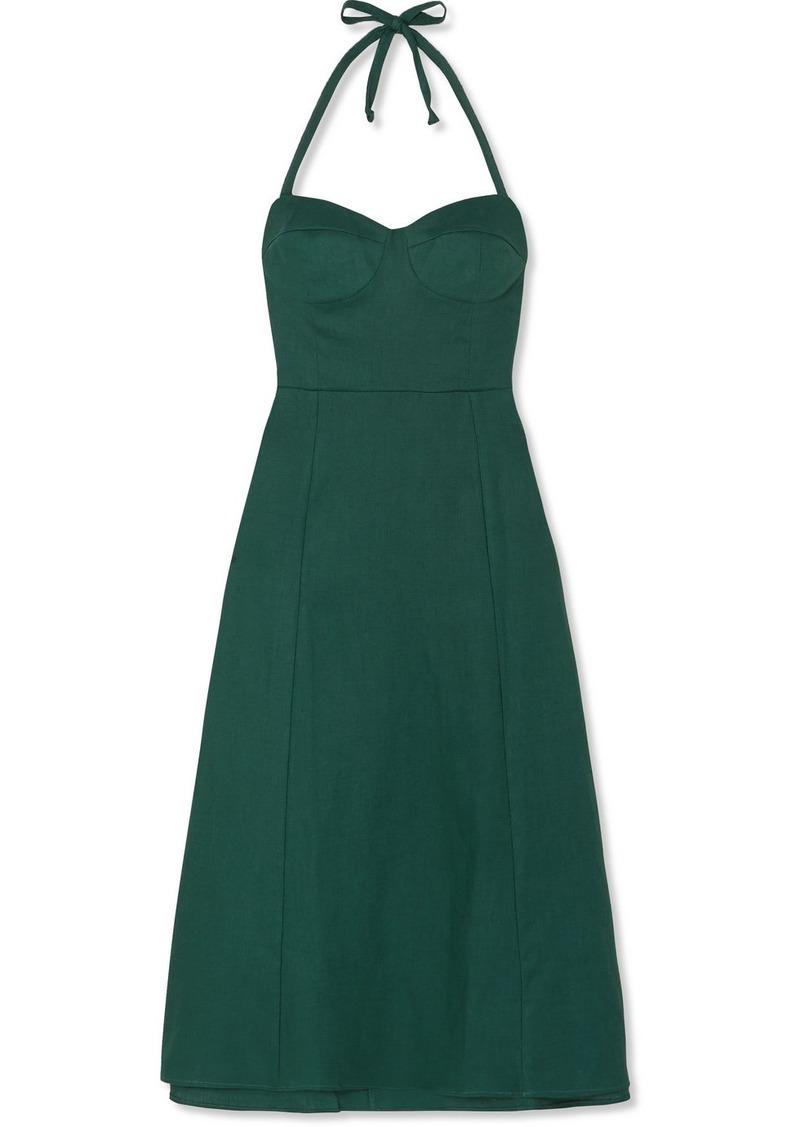 Reformation Jana Linen Halterneck Midi Dress