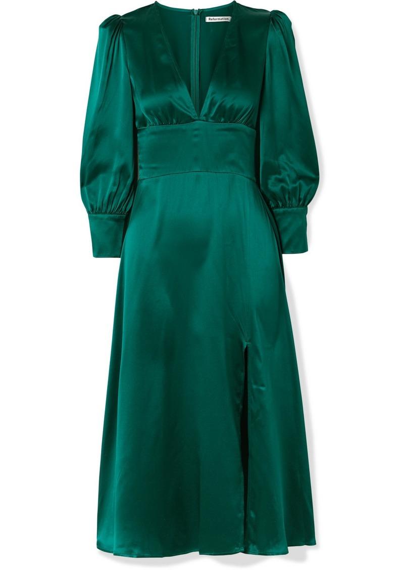 Reformation Keats Silk-satin Midi Dress