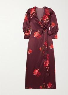Reformation Merrick Floral-print Silk-satin Wrap Dress