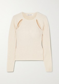 Reformation Net Sustain Basilica Cutout Ribbed Recycled Cashmere-blend Sweater