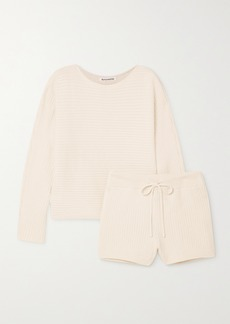 Reformation Net Sustain Cort Ribbed Organic Cotton Sweater And Shorts Set