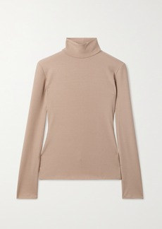 Reformation Net Sustain Ira Ribbed Stretch-tencel Lyocell Turtleneck Top