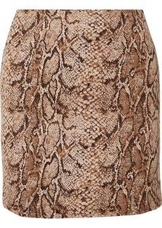 Reformation Oak Snake-print Stretch-jersey Mini Skirt