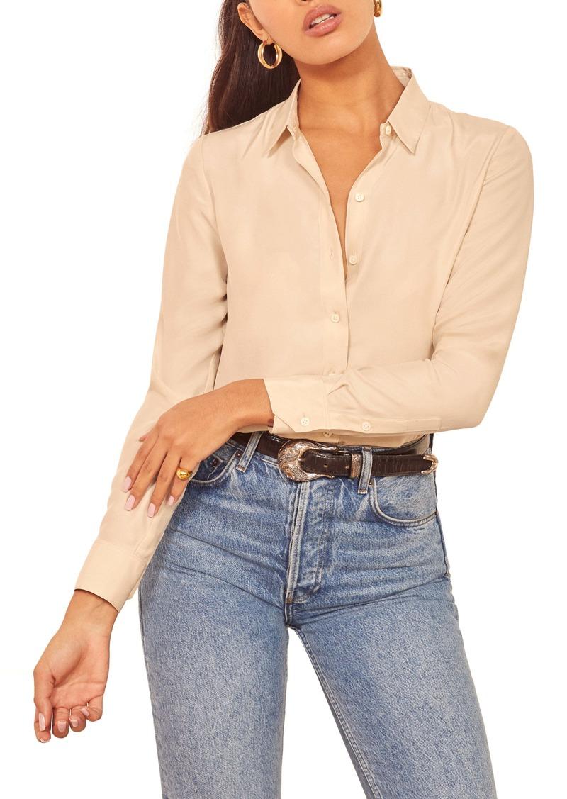 Reformation Anne Button-Up Silk Top