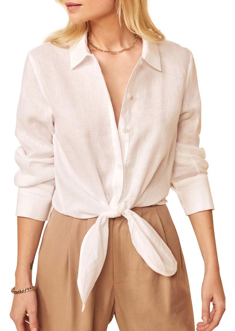 Reformation Anzio Tie Hem Linen Button-Up Shirt