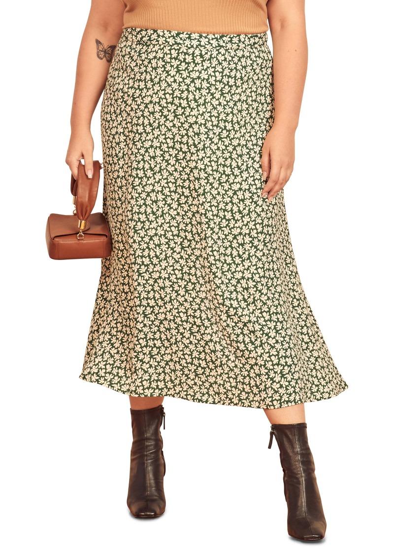 Reformation Bea Floral Midi Skirt (Plus Size)